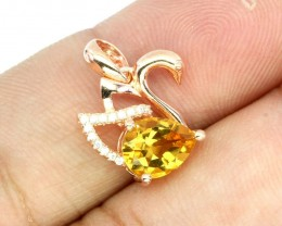 11.22cts SWAN Yellow Citrine 925 Sterling Silver Pendant