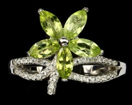 FLOWER Green Peridot 925 Sterling Silver Ring Size
