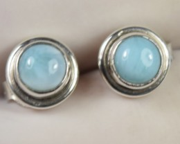 NATURAL LARIMAR SILVER EARRINGS 925 STERLING SILVER
