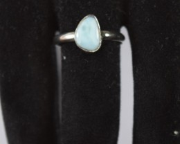NATURAL LARIMAR RING 925 STERLING SILVER
