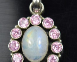NATURAL TOURMALINE AND RAINBOW MOONSTONE PENDANT 925 STERLING SILVER