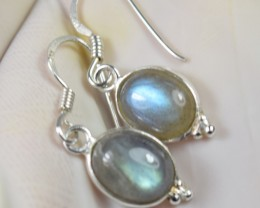 NATURAL LABRADORITE SILVER EARRINGS 925 STERLING SILVER