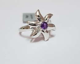 Amethyst 925 Sterling silver ring #689