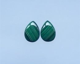 18ct New Arrival Malachite And Obsidian  Water drop Cabochon Pair(18052210)