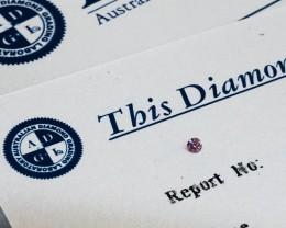 0.032ct 5P I1 Certified Argyle Pink Diamond