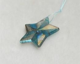 23ct New Design Labradorite And Blue Apatite Crystal Intarsia Pentagram Pen