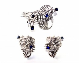 Brooches with   Earrings White Gold 18k  Diamonds and Sapphire   FB60