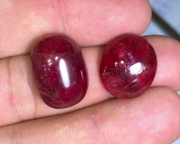 51.15 cts Rhodonite Cabochon Pair - Brazil - Blood Red!