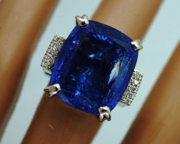 18.10 сt . Natural Earth Mined Tanzanite Luxury  Blue - Gold Ring -13.87 gr