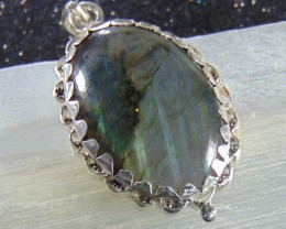 64.60CT  NATURAL LABRADORITE  DESIGNER  PENDENT GOOD PURITY SILVER