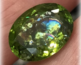 A RARE PERIDOT 9.91CTS HUGE WITH RAINBOW LILY PADS - MUST HAVE GEM