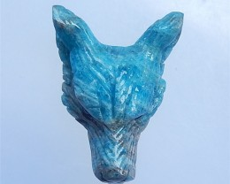 156.5ct New Design Blue Apatite Crystal Craved wolf head Cabochon(18052419)