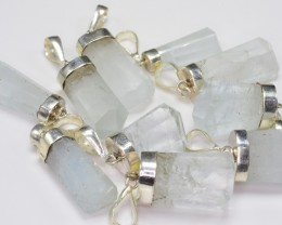 10 PCS OF NATURAL AQUAMARINE PENDANT WITH SILVER