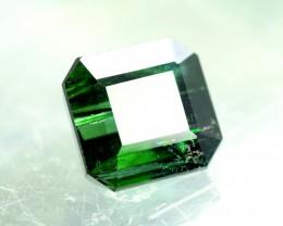 3.35 cts  Asscher Cut Beautifull Deep Green Afghan Tourmaline Gemstone From