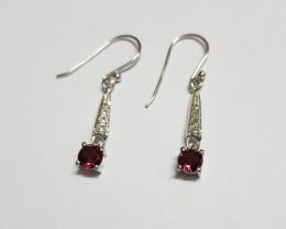 Garnet 925 Sterling silver earring #7794