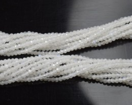 100% NATURAL AUTHENTIC RAINBOW MOONSTONE FACETED RONDELLE BEADS (1 STRAND O