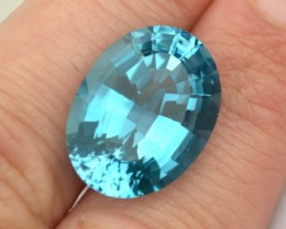 22.11 Carat Fantastic Fancy Antique Oval Cut Swiss Blue Topaz
