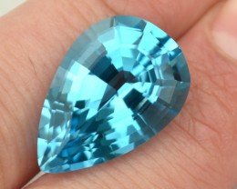 26.08 Carat Fancy Antique Pear Cut Swiss Blue Topaz