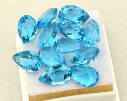 43.28 Carat Parcel of Fine Pear Cut Swiss Blue Topaz
