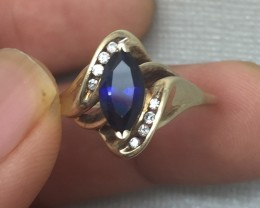 (B2) Splendid $1800 0.45ct Nat Helzberg Blue Sapphire & Diamond Ring