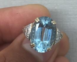 (B2) Authentic $2000 Nat. 7.0ct Sky Blue Topaz Gold Ring 14K YG