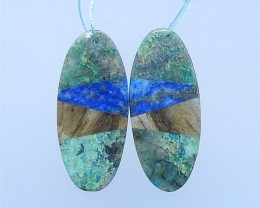 42ct Hot Sale Chrysocolla .Labradorite And Lapis Lazuli Intarsia Earring Pa