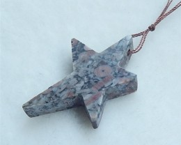 33.5ct New Design Crinoid Fossil Craved Pentagram Pendant (18052721)