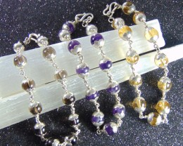 3pcs 208.70 CT Lovely  NATURAL beads   PURITY SILVER designed bracelet