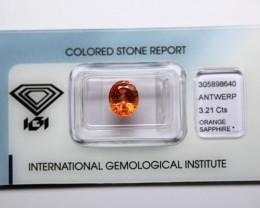 3.21 ct . Natural Orange Sapphire – IGI Certificate