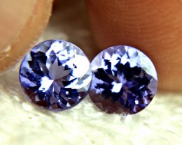2.70 Carat Matched IF/VVS1 Purple Blue Tanzanites - Superb
