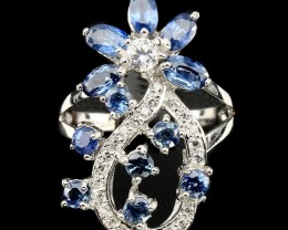 25ct Blue Sapphire 925 Sterling Silver Ring Size US 7