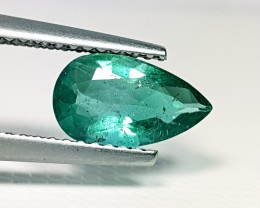 "1.27 ct "" IGI Certified "" Fabulous Green Pear Cut Natural Emerald"