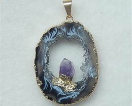51Ct Nugget Drusy Brazil Agate With Amethyst crystal Pendant Bead(18052807)