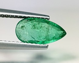 """1.20 ct """" IGI Certified """" Awesome Green Pear Cut Natural Emerald"""