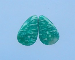 19ct On sale Natural Amazonite Cabochon Pair(18052818)