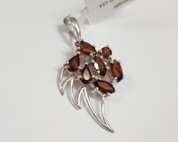 Garnet 925 Sterling silver pendant #34040