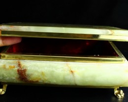 8050 CT Natural - Unheated Onyx Carved Jewelry Box Stone Special Shape