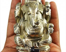 Genuine 1389.00 Cts Golden Hematite Ganesha Idol