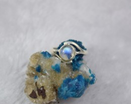 NATURAL UNTREATED RAINBOW MOONSTONE RING 925 STERLING SILVER JE45