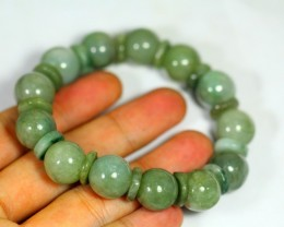322.5Ct Natural Grade A Green Color Jadeite Jade Bracelet