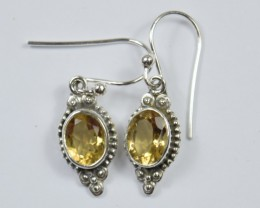 NATURAL CITRINE SILVER EARRINGS 925 STERLING SILVER JE48