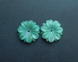 13.2ct On sale Green Aventurine Craved Flower Earring Pair(18052910)