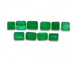 Emerald 3.42 cts 10st Emerald Cut WHOLESALE LOT