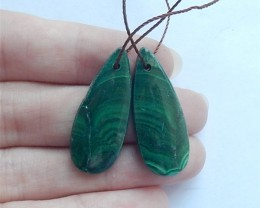 37ct New Arrival Water drop Malachite Earring Pair(18053002)