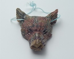 91.5ct  Hot Sale Multi-Color Picasso jasper Craved wolf head Pendant (18053