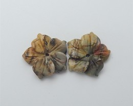 12ct On sale Multi-Color Picasso jasper Craved Flower Earring Pair(18053008