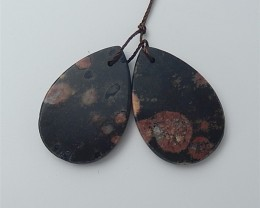 43.5ct Natural Water drop Mushroom Jasper Earring Pair(18053010)