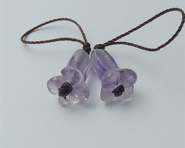 10ct For lover Beautiful Amethyst Craved Flower Earring Pair(18053024)
