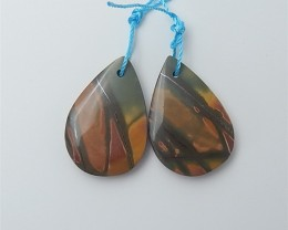 20.5ct Hot Sale Water drop Multi-Color Picasso jasper Earring Pair(18053028