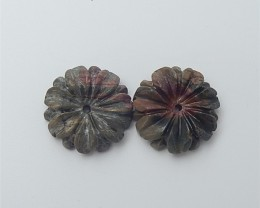15.5ct On sale Multi-Color Picasso jasper Craved Flower Earring Pair(180530